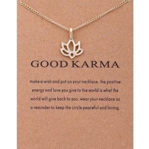 Good Karma Lotus Gold Charm Necklace